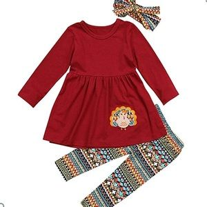 NWOT 3/4T 3pc Thanksgiving Outfit w/ Headband! 🦃